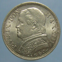 NICELY TONED UNCIRCULATED 1868 VATICAN PIUS IX LIRA