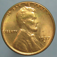 1937 S LINCOLN WHEAT CENT   FULL RED CHOICE BU