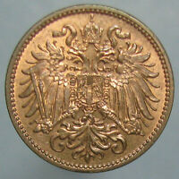 LUSTROUS RED & BROWN UNCIRCULATED 1910 AUSTRIAN 2 HELLER
