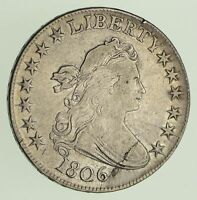 1806 DRAPED BUST HALF DOLLAR - POINTED 6 STEM NOT THROUGH CLAW - CIRCULATED 428