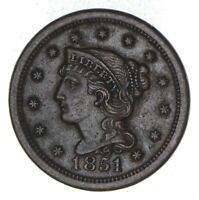1851 BRAIDED HAIR LARGE CENT - CHOICE 8918