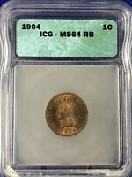 1904 INDIAN CENT ICG MINT STATE 64RB RED BROWN PLENTY OF RED