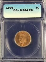 PREMIUM 1906 INDIAN CENT ICG MINT STATE 64RB RED BROWN BORDERLINE RED PLUS FOR GRADE