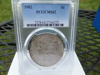 1902-P $1 PCGS MINT STATE 62 - MORGAN SILVER DOLLAR . TONED  TOUGHER DATE .