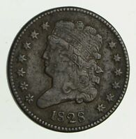 1828 CLASSIC HEAD HALF CENT - CIRCULATED 9494