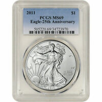 2011 AMERICAN SILVER EAGLE - PCGS MINT STATE 69