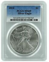 2014 1OZ AMERICAN SILVER EAGLE PCGS MINT STATE 69 - BLUE LABEL