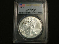 2015 $1 AMERICAN SILVER EAGLE 1 OZ PCGS MINT STATE 69 FIRSTSTRIKE FLAG LABEL