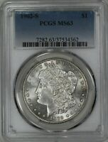 1902 S MORGAN SILVER DOLLAR $1 PCGS CERTIFIED MINT STATE 63 MINT STATE 362