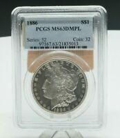 1886 PCGS GRADED MINT STATE 63 DMPL MORGAN SILVER ONE $1 DOLLAR  COIN