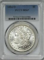 1884 O MORGAN SILVER DOLLAR PCGS MINT STATE 67 - BRILLIANT WHITE AND