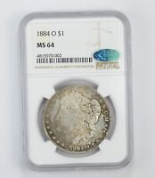 MINT STATE 64 1884-O CAC MORGAN SILVER DOLLAR - GRADED BY NGC 8206