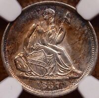 1837 SMALL DATE SEATED HALF DIME NGC MS64 SUPERB COLOR    DA
