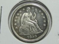 1858 SEATED LIBERTY SILVER DIME, ABOUT UNCIRCULATED  SHIPS FREE