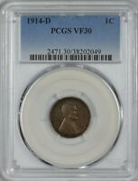 1914 D LINCOLN CENT PCGS VF30 - A KEY DATE IN THE LINCOLN WHEAT SERIES
