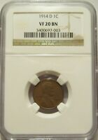 1914-D NGC VF 20 BN LINCOLN WHEAT CENT KEY DATE
