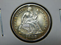 1888 10C SEATED DIME MS UNC BU,  COIN