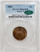 1865 2 CENT PIECE PCGS/CAC MINT STATE 66 RB