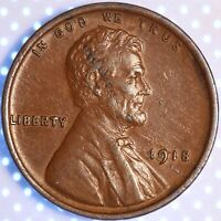 1918 P LINCOLN CENT,  CHOICE AU/UNCIRCULATED, OBVERSE LAMINATION ERROR, HOT