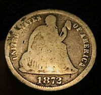 1872 P SEATED LIBERTY DIME 10C VG SILVER TYPE US COIN GOOD COIN LOT CC473