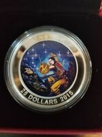 2015 WOUNDED BEAR STAR CHARTS GLOW IN THE DARK COLORIZED $25 SILVER CANADA