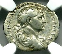 NGC VF. TRAJAN 98 117 AD. MAGNIFICENT DENARIUS. RARE ANCIENT