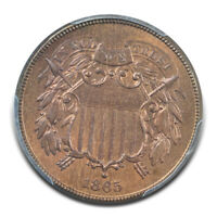 1865 2C TWO CENT PIECE PCGS MINT STATE 65RB