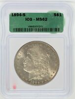 1894-S MORGAN SILVER DOLLAR $1 COIN ICG MINT STATE 62 CERTIFIED COIN - JD382