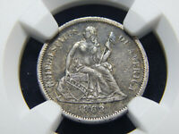 1863-S 10C SEATED LIBERTY DIME EXTRA FINE -45 NGC, TOUGH DATE FRESH FROM GRADING