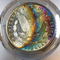 1882-S MORGAN DOLLAR PCGS MINT STATE 62 VIBRANT RAINBOW TONED RIDICULOUSLY UNDERGRADED