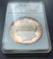 1885-O MINT STATE 64 PL TONED MORGAN SILVER DOLLAR PROOFLIKE BEAUTIFUL TONING OLD ANACS