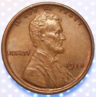 1918 P LINCOLN CENT,  CHOICE AU, SO CLOSE, SHARP AND CLEAN, SOME RED, SWEET