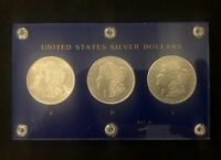 1921 US MORGAN SILVER DOLLAR 3 COIN SET FROM 3 MINTS ENCASED