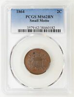 1864 SMALL MOTTO PCGS MINT STATE 62 BN TWO 2 CENT PIECE KEY DATE GREAT LUSTER - I-19639