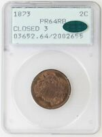 1873 CLOSED 3 PCGS PR64 RB CAC 2 TWO CENT PIECE KEY DATE GREAT LOOK - I-19641
