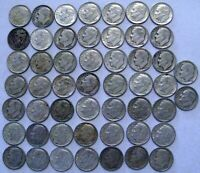 ONE LOT OF  51  ROOSEVELT DIMES   90  SILVER   MIXED DATES