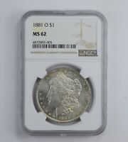 MINT STATE 62 1881-O MORGAN SILVER DOLLAR - GRADED NGC 0884