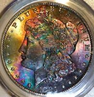 1885-O MORGAN DOLLAR PCGS MINT STATE 63 DEEP RICH REAL RAINBOW TONED COLOR TONING