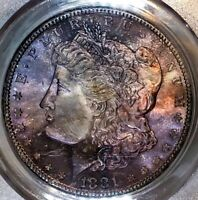 1881-S MORGAN DOLLAR PCGS MINT STATE 65 2ND GEN VIOLET RAINBOW TONED NIGHT SKIES