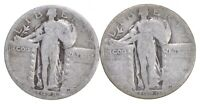 1928 S 1929 D LOT OF2 90  SILVER STANDING LIBERTY QUARTER CO