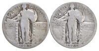 1926 S 1927 S LOT OF2 90  SILVER STANDING LIBERTY QUARTER CO