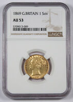 GREAT BRITAIN UK 1869 SOVEREIGN SOV GOLD COIN NGC AU53 YOUNG VICTORIA SHIELD AU