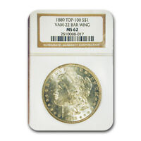 1889 MORGAN DOLLAR MINT STATE 62 NGC VAM 22 BAR WING, TOP-100 - SKU188722