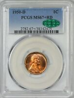 1950 D LINCOLN CENT PCGS MINT STATE 67 RED TOP POP NONE FINER SUPER COLOR & CAC APPROVED