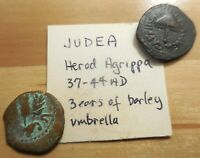 ANCIENT JUDAEA. HERODIANS. HEROD AGRIPPA I  AD 37 44 . PRUTAH  LOT OF 2 COINS