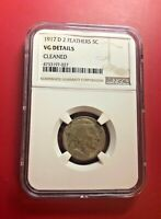 1917-D BUFFALO NICKEL TWO FEATHERS NGC VG DETAILS CLEANED
