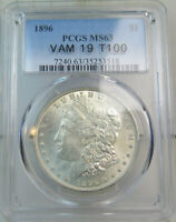 1896 MORGAN DOLLAR PCGS MINT STATE 63 VAM 19 8 IN DENTICLES TOP100 BR