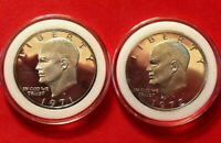 1971 S & 1972 S EISENHOWER IKE 40  SILVER DOLLARS GEM PROOF CAMEO IN CAPSULES