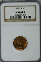 1941 S LINCOLN WHEAT CENT NGC MINT STATE 66 RD