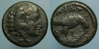 AE 15 OF KING AMYNTAS III OF MACEDON   HEAD OF HERAKLES AND EAGLE